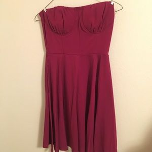 ModCloth wine coloured pocketed strapless dress.